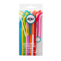 Dotz: Set de 8 pailles courbées en silicone multicolores