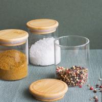 Peebly:  Boîte hermétique ronde à épices en verre et bambou 18 cl